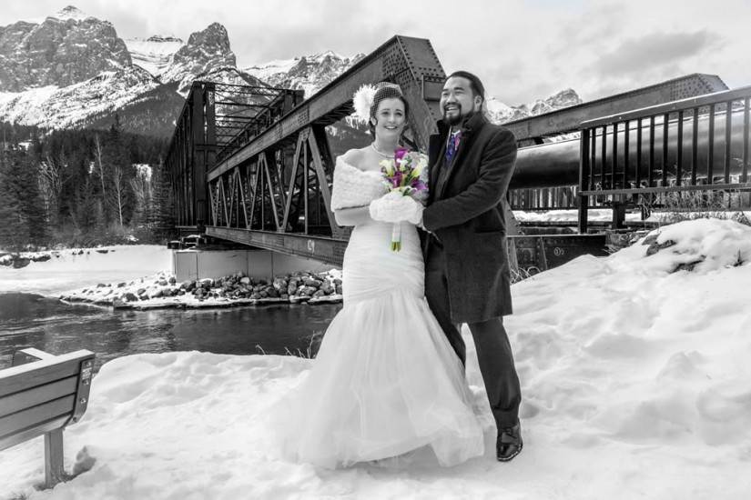 Black and white with colour wedding photo shoot in Canmore