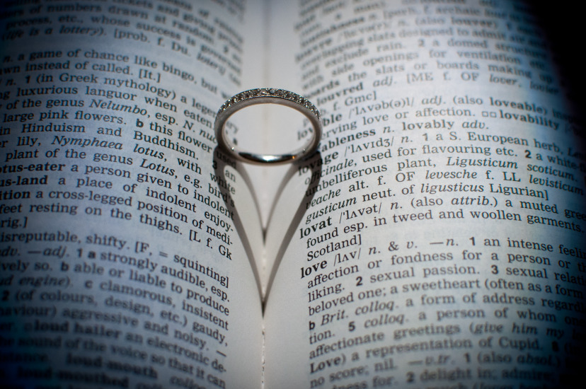 Wedding band casting a love heart shadow in a dictionary, dictionary page is on love