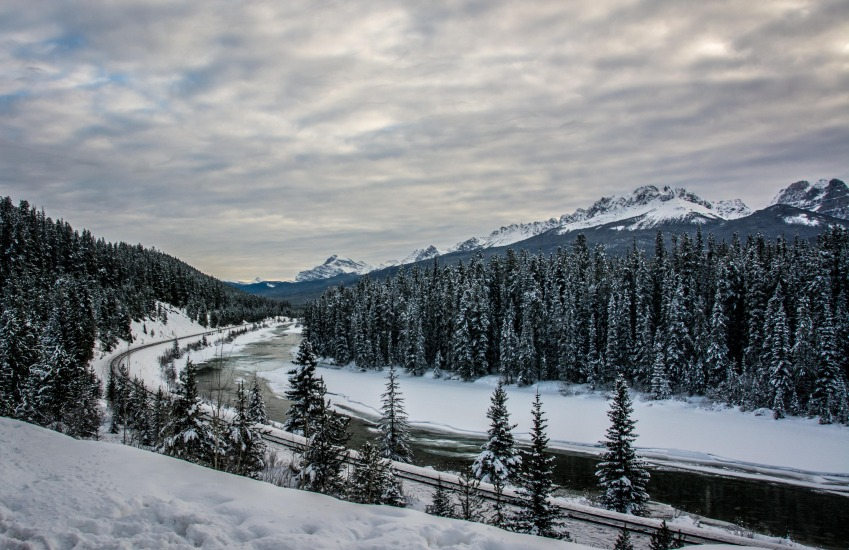 Railway Track in Bow Valley Parkway - Banff